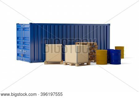 Shipping Container, Pallets, Wooden Crates Or Boxes And Barrels Compilation Over White Background, F