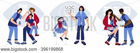 Optometrist Checking Kid Eyesight. Young Doctor Optometrist Is Checking Up Childs Eyesight. Doctor H