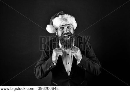 Tie Your Look Together With Xmas Style. Bearded Man Fix Bow Tie. Happy Santa Wear Elegant Formal Sty