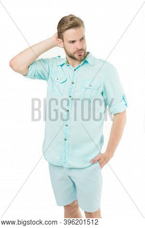 Handsome And Good-looking. Handsome Man In Summer Street Style Isolated On White. Caucasian Guy With