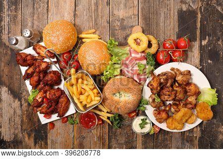 assorted of american food- junk food assortment