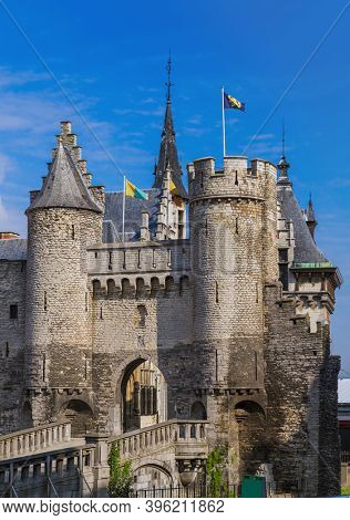Steen castle in Antwerp Belgium - architecture background