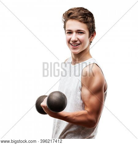 Strong athlete man training bicep muscle with sport dumbbell weight