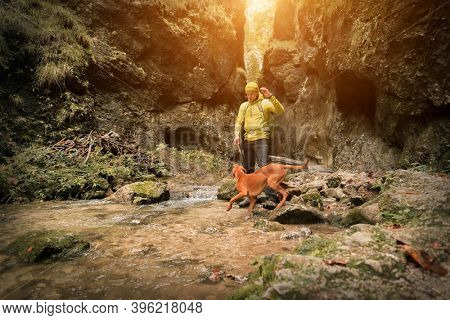 Traveler Man trekker with him dog walk around mountains in sunny day. Backpacker walking in Outdoors. Health care, authenticity, sense of balance and calmness.