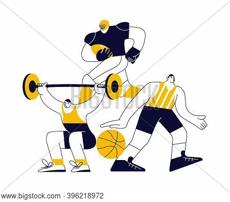 Sports Concept With Athletes In Yellow On White. Different Male And Female Sportsmen Isolated. Flat