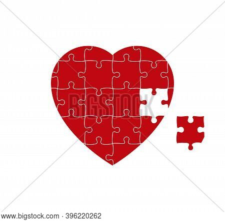 Red Heart Puzzle With One Missed Piece. Vector Illustration.