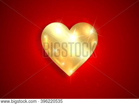 Shiny Gold Heart Logo 3d Icon, Valentine's Day Background With Golden Luxury Heart  Design, Jeweller