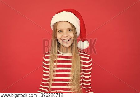 May Holidays Bring Your Joy. Happy Little Santa Red Background. Happy Holidays. Christmas Holidays 2