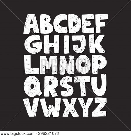 Cartoon English Alphabet. Abc. Funny Hand Drawn Graphic Font. Uppercase Letters On Black Background.