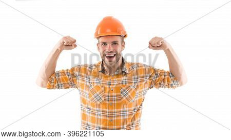 Successful Engineer. Strong Handsome Builder. Man Protective Helmet And Uniform White Background. Wo