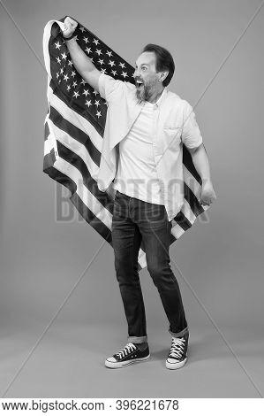 Visa Free. Happy Man Get Usa Visa Grey Background. Visa Applicant Hold Usa Flag. Applying For Immigr