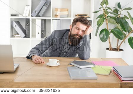 Sleepless Night. Depressed Mood And Lack Of Energy. Man Handsome Boss Sleep In Office Drinking Coffe