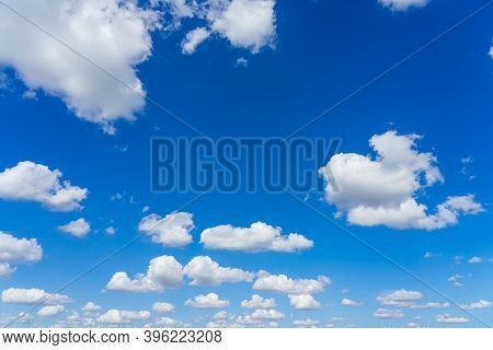 Beautiful Blue Sky And Clouds With Daylight Natural Background.