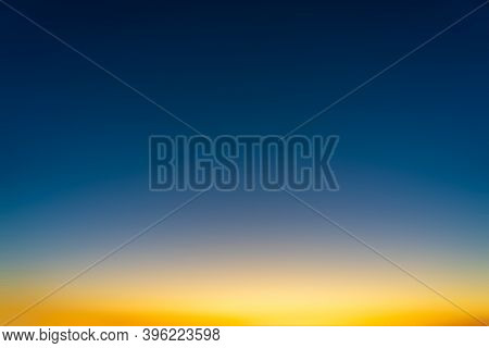 Gradient In The Sky With Abstract Blue And Yellow Natural Background.