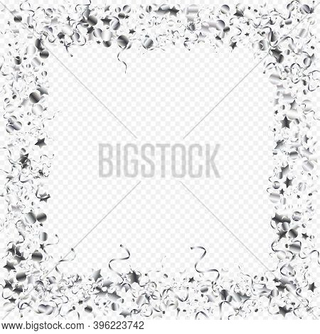 Silver Confetti Fun Vector Transparent Background. Shiny Serpentine Poster. Spiral Flying Branch. Si