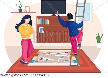 Family Husband And Wife Talking Standing Together In The Room. Home Cozy Livingroom With Couch And T