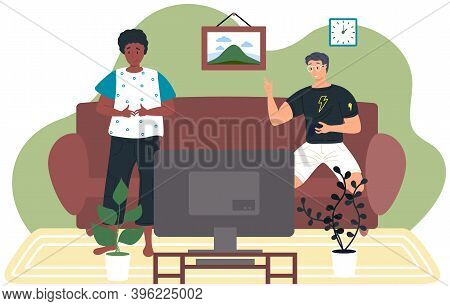 Guys Friends Play Video Games At Home. Young Men Gaming With Gamepad Controller, Holding Joystick In