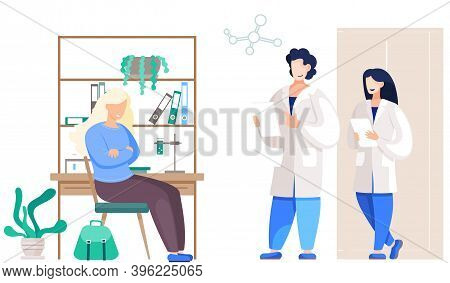 Patient Woman Came To Medical Clinic For Consultation With Doctor. Medical Treatment And Healthcare,
