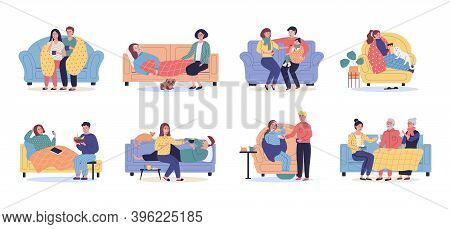 Set Of Ill Or Sick And Recovered People On Sofa Or Couch At Home. Sick Person Having Cold. Adults An