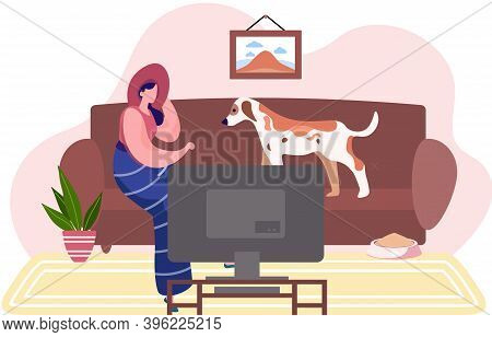 Young Woman Is Sitting With Her Dog On The Sofa In Livingroom With Tv Cabinet At Home. Flat Style Ve
