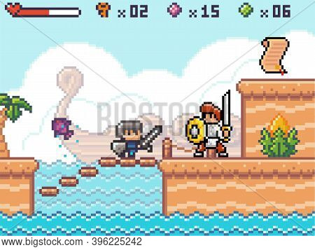 Pixel Art Style, Character In Game Arcade Play. Man With Sharp Sword And Shield Fighting Against Ene