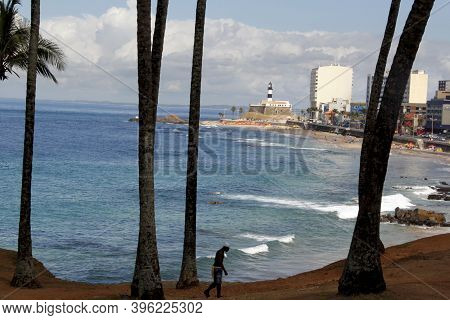 Salvador, Bahia / Brazil - March 18, 2013: View Of The Fort Of Antonio Da Barra, Better Known As Far
