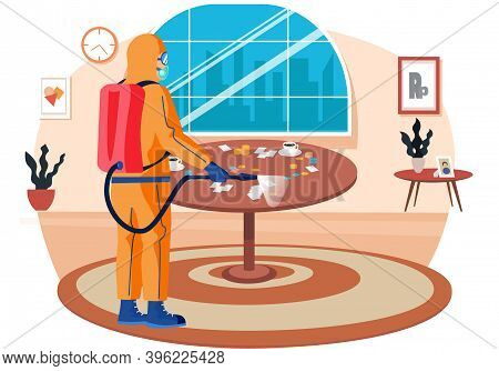 Man In A Yellow Protective Suit Disinfects The Living Room Or Office With A Spray Gun. Virus Pandemi