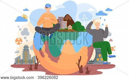 Young Male Characters Sitting On The Globe Standing On Ground With Cracks, Environmental Pollution T