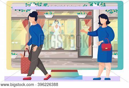 Wedding Dress Shop, Woman Bride Daily Life. A Girl Walking Down The Street Near Bridal Salon Storefr