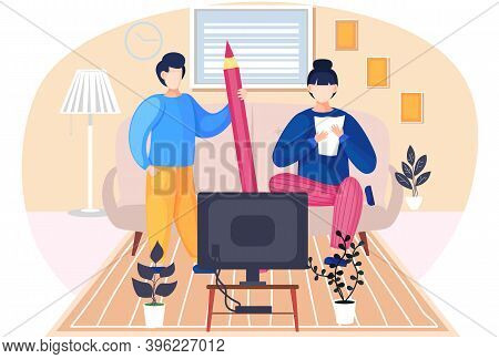 Family Husband And Wife Talking Standing Together In The Room. Home Livingroom With Couch And Televi
