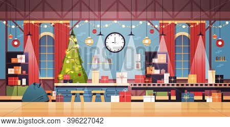 Empty No People Santa Claus Christmas Factory With Gifts On Machinery Line Happy New Year Winter Hol