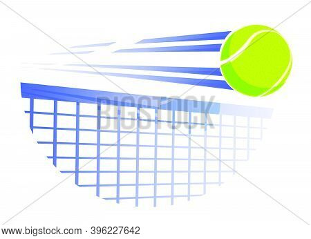 Fast Tennis Ball Flies With Great Speed On Tennis Net. Sport Equipment. Symbol For Mobile Applicatio