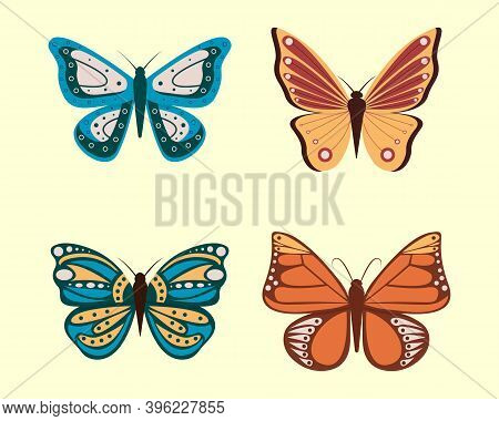 Vector Illustration Of Cartoon Butterflies Isolated On White Background. Abstract Butterflies, Color