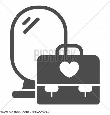 Mirror And Bag With Heart Solid Icon, Makeup Routine Concept, Cosmetic And Makeup Place Sign On Whit