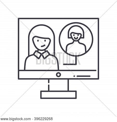 Videocall Icon, Linear Isolated Illustration, Thin Line Vector, Web Design Sign, Outline Concept Sym