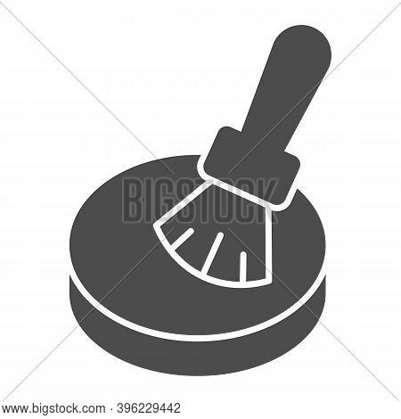 Powder And Brush Solid Icon, Makeup Routine Concept, Powder For Face Sign On White Background, Makeu
