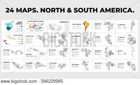 North And South America Vector Map Country Infographics. 24 Slide Presentation Templates. United Sta