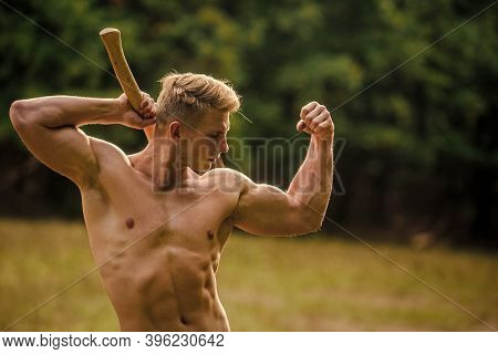 Strength And Power Concept. Handsome Shirtless Man Muscular Body. Forester With Axe. Sexy Macho Bare