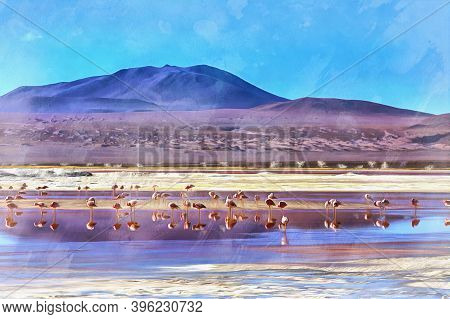 Beautiful Landscape With Andean Flamingo Colorful Painting Looks Like Picture, Laguna Canapa Lake, B