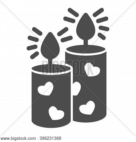 Romantic Aroma Candle Solid Icon, Valentine Day Concept, Candles With Heart Sign On White Background
