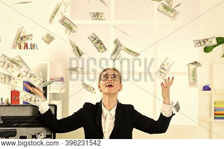 Money For Happiness. Cash Flow. Passive Income. Woman Enjoy Money Falling From Above. Passive Income