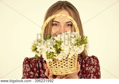 Womens And Mothers Day. Flowers Shop. Natural Fragrance. Girl Carry Flowers In Basket. Floral Shop.