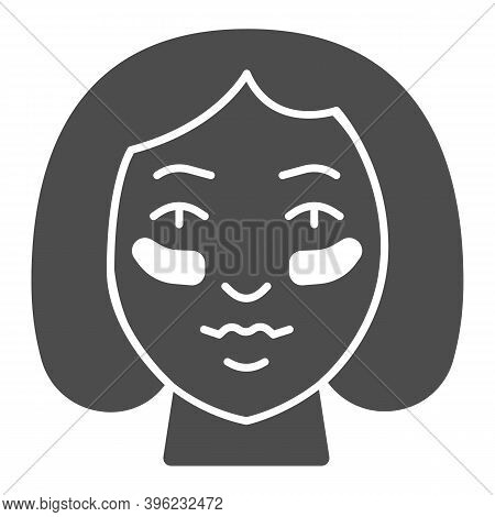 Eyes Patches On Girl Face Solid Icon, Makeup Routine Concept, Girl Face With Patches Sign On White B