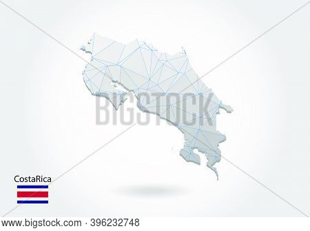 Vector Map Of Costa Rica With Trendy Triangles Design In Polygonal Style On Dark Background, Map Sha