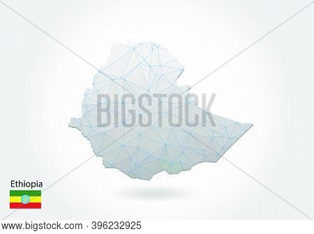 Vector Map Of Ethiopia With Trendy Triangles Design In Polygonal Style On Dark Background, Map Shape
