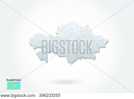 Vector Map Of Kazakhstan With Trendy Triangles Design In Polygonal Style On Dark Background, Map Sha