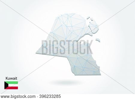 Vector Map Of Kuwait With Trendy Triangles Design In Polygonal Style On Dark Background, Map Shape I