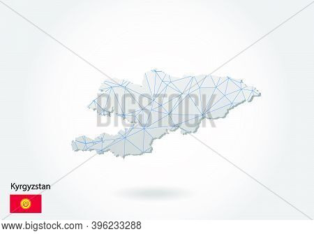 Vector Map Of Kyrgyzstan With Trendy Triangles Design In Polygonal Style On Dark Background, Map Sha