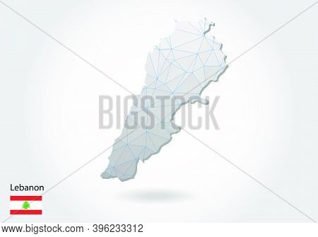Vector Map Of Lebanon With Trendy Triangles Design In Polygonal Style On Dark Background, Map Shape