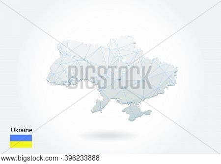 Vector Polygonal Ukraine Map. Low Poly Design. Map Made Of Triangles On White Background. Geometric